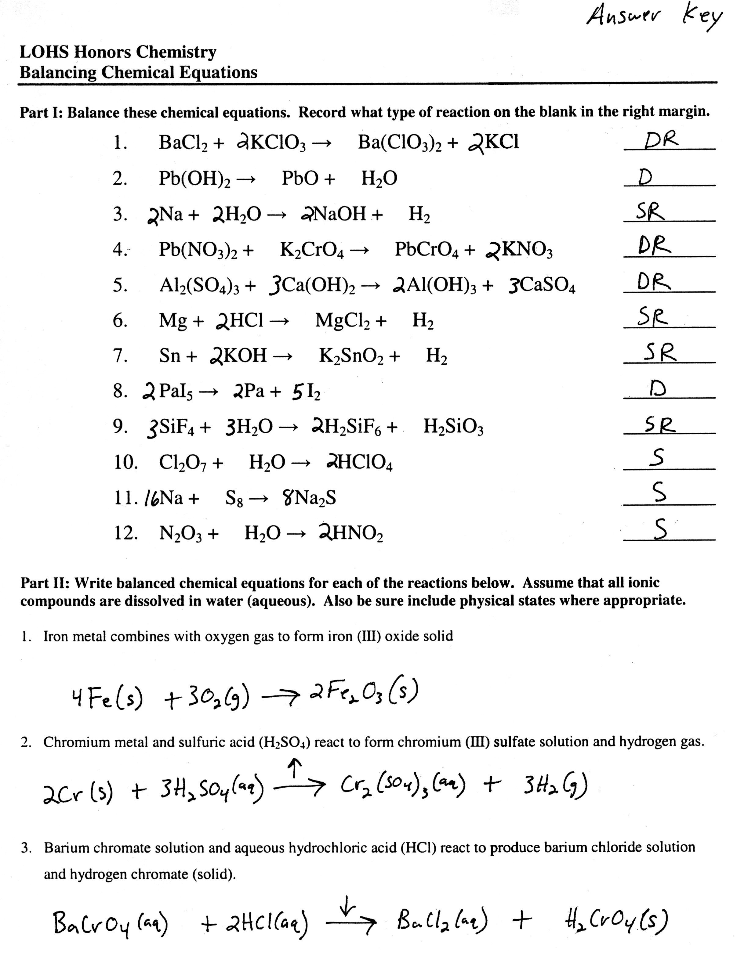 Awesome Collection Of Types Of Chemical Reaction Worksheet Ch 7 Throughout Types Of Chemical Reaction Worksheet Ch 7