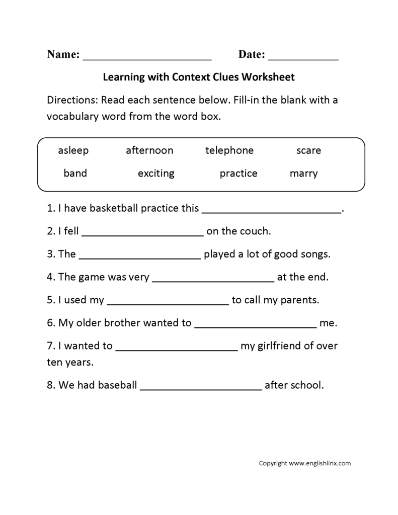 Context Clues Worksheets 3Rd Grade Multiple Choice ...