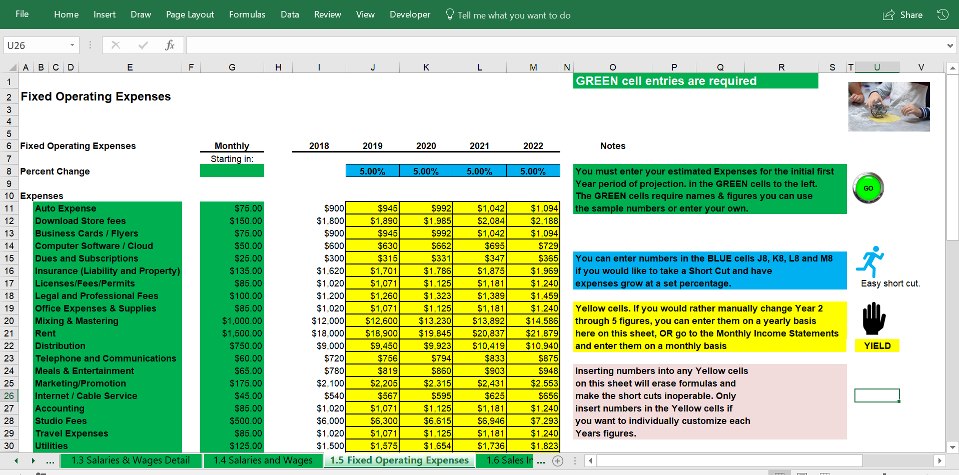 Bakery Financial Projections   Income & Expense Statements ... For Bakery Expenses Spreadsheet