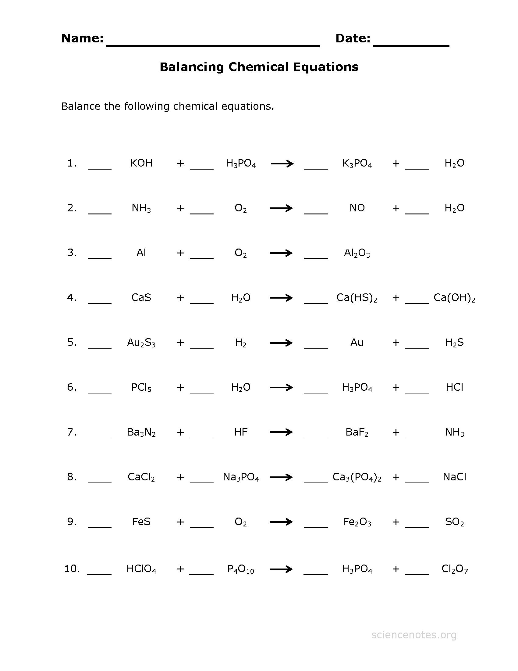 Balancing Chemical Equations Practice Sheet Intended For Balancing Chemical Equations Worksheet Grade 10