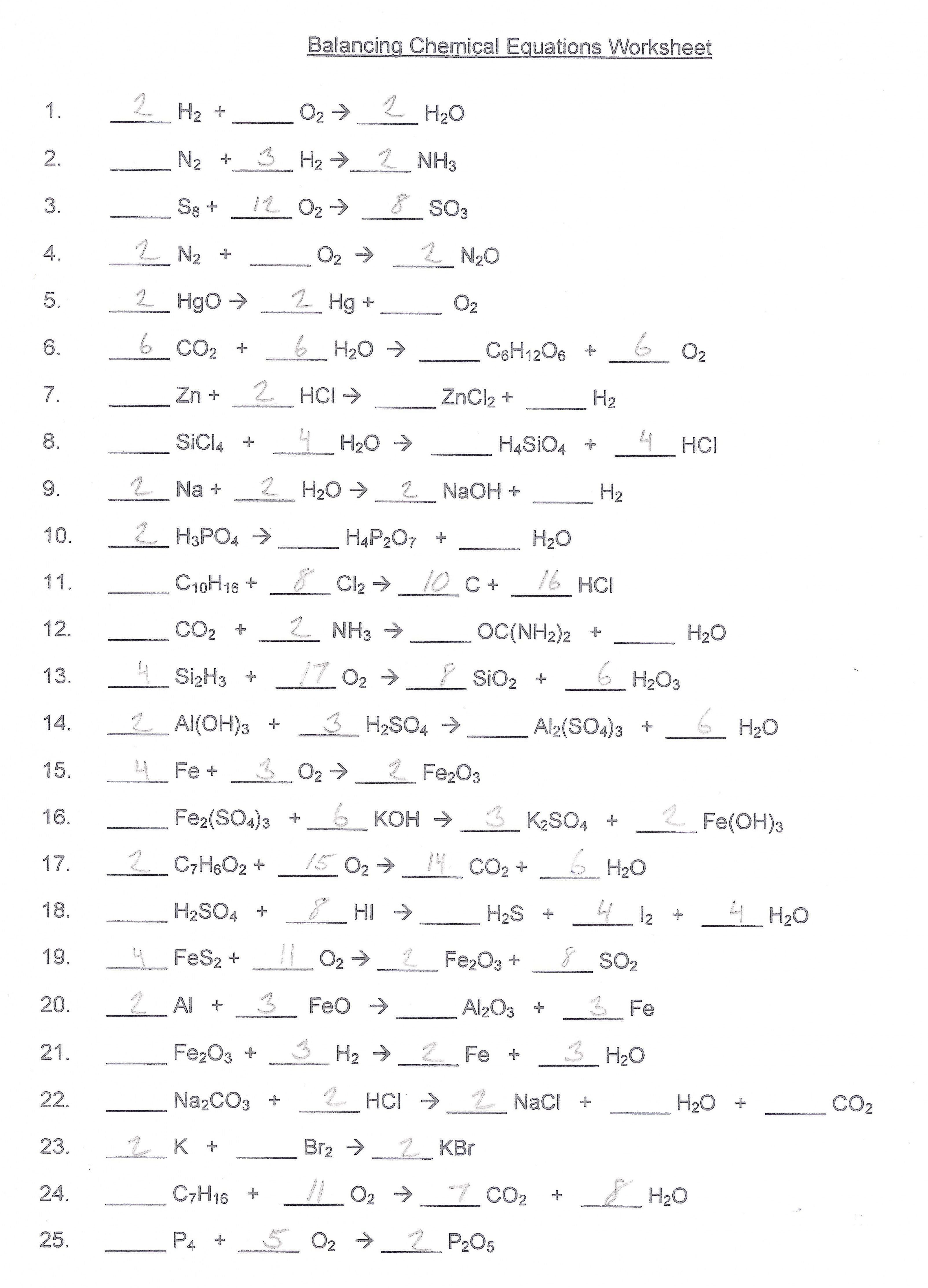 Balancing Chemical Equations Worksheet Answers 1 25  Lobo Black With Regard To Balancing Chemical Equations Worksheet Answers 1 25