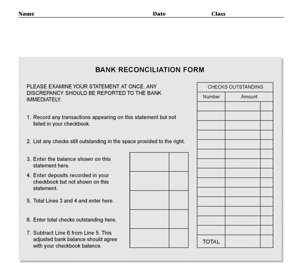 Bank Reconciliation Worksheet Excel Template Statement Format In Also Checking Account Reconciliation Worksheet