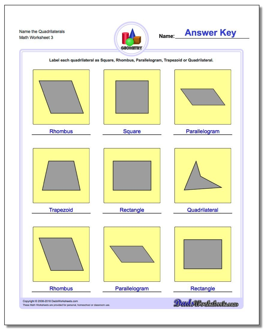 Basic Shapes Along With Quadrilaterals 3Rd Grade Worksheets