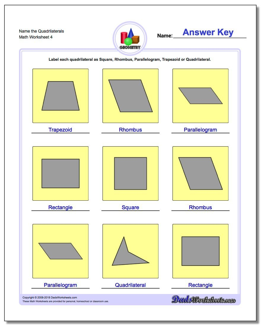 Basic Shapes Throughout Quadrilaterals 3Rd Grade Worksheets