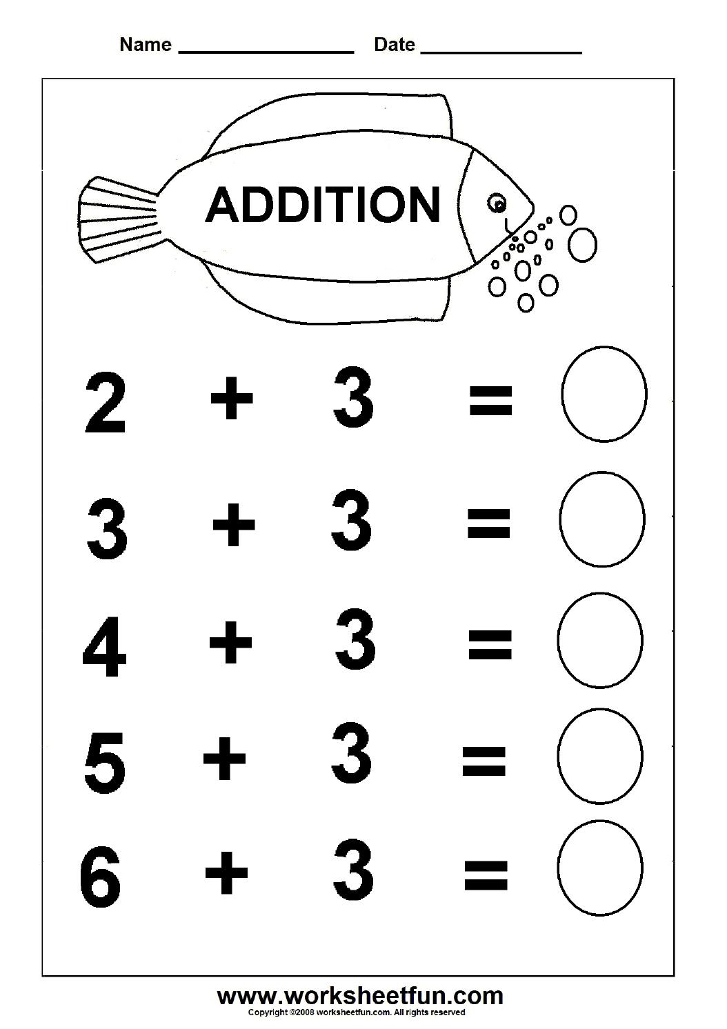 Beginner Addition – 6 Kindergarten Addition Worksheets  Free With Free Printable Math Addition Worksheets For Kindergarten