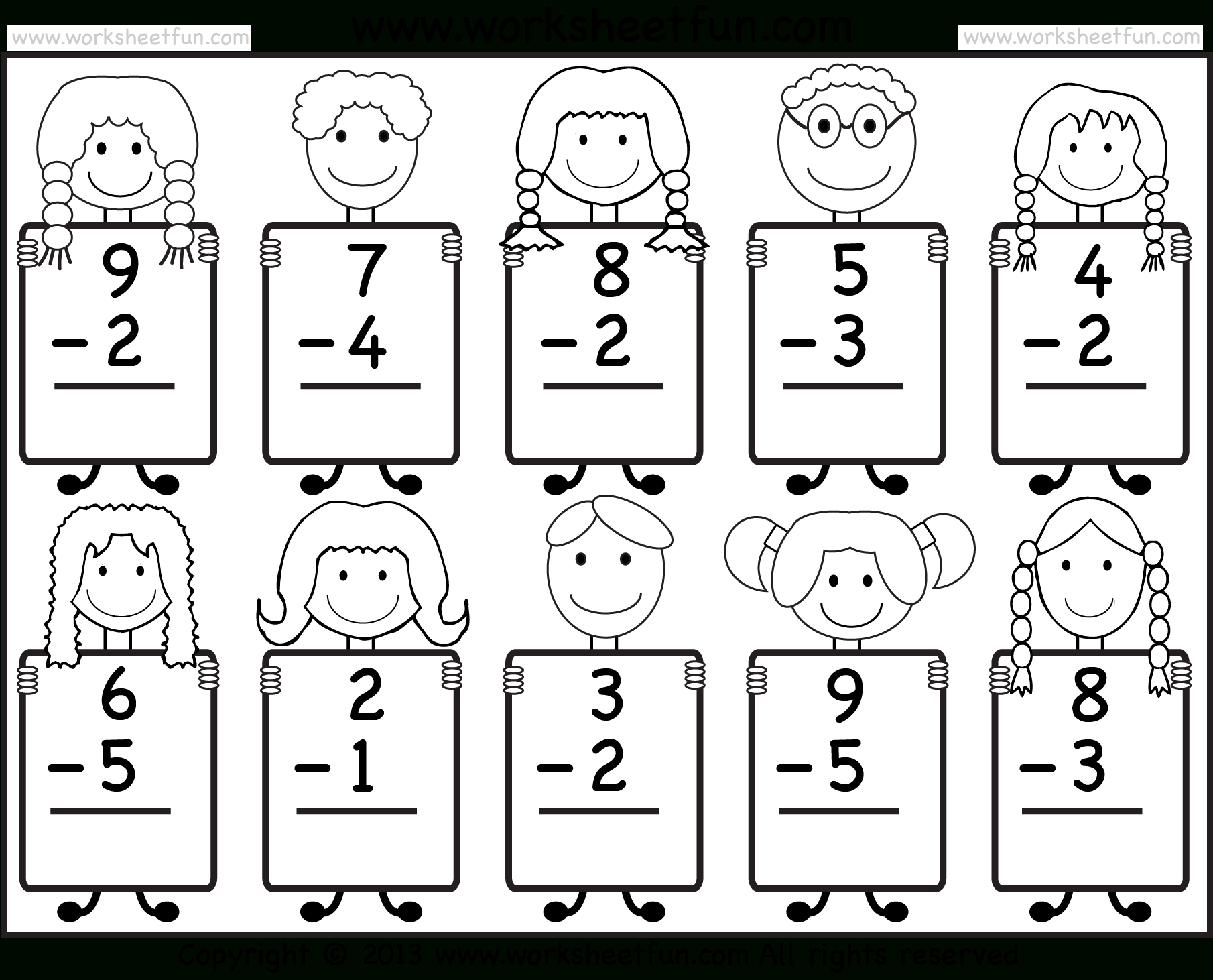 Beginner Subtraction – 10 Kindergarten Subtraction Worksheets  Free As Well As Subtraction Worksheets For Kindergarten Pdf