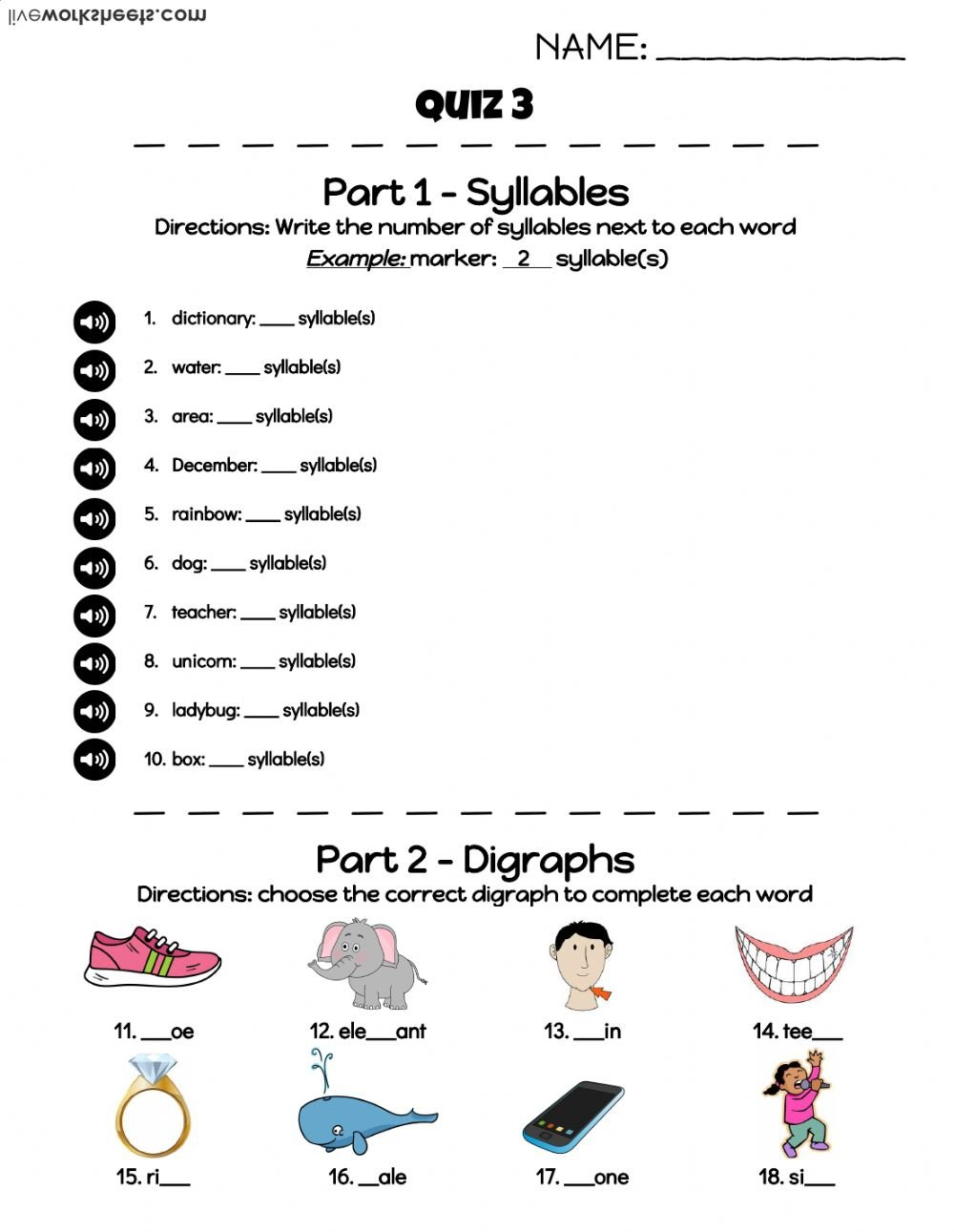 Beginning English Quiz 3  Interactive Worksheet Along With English For Beginners Worksheets