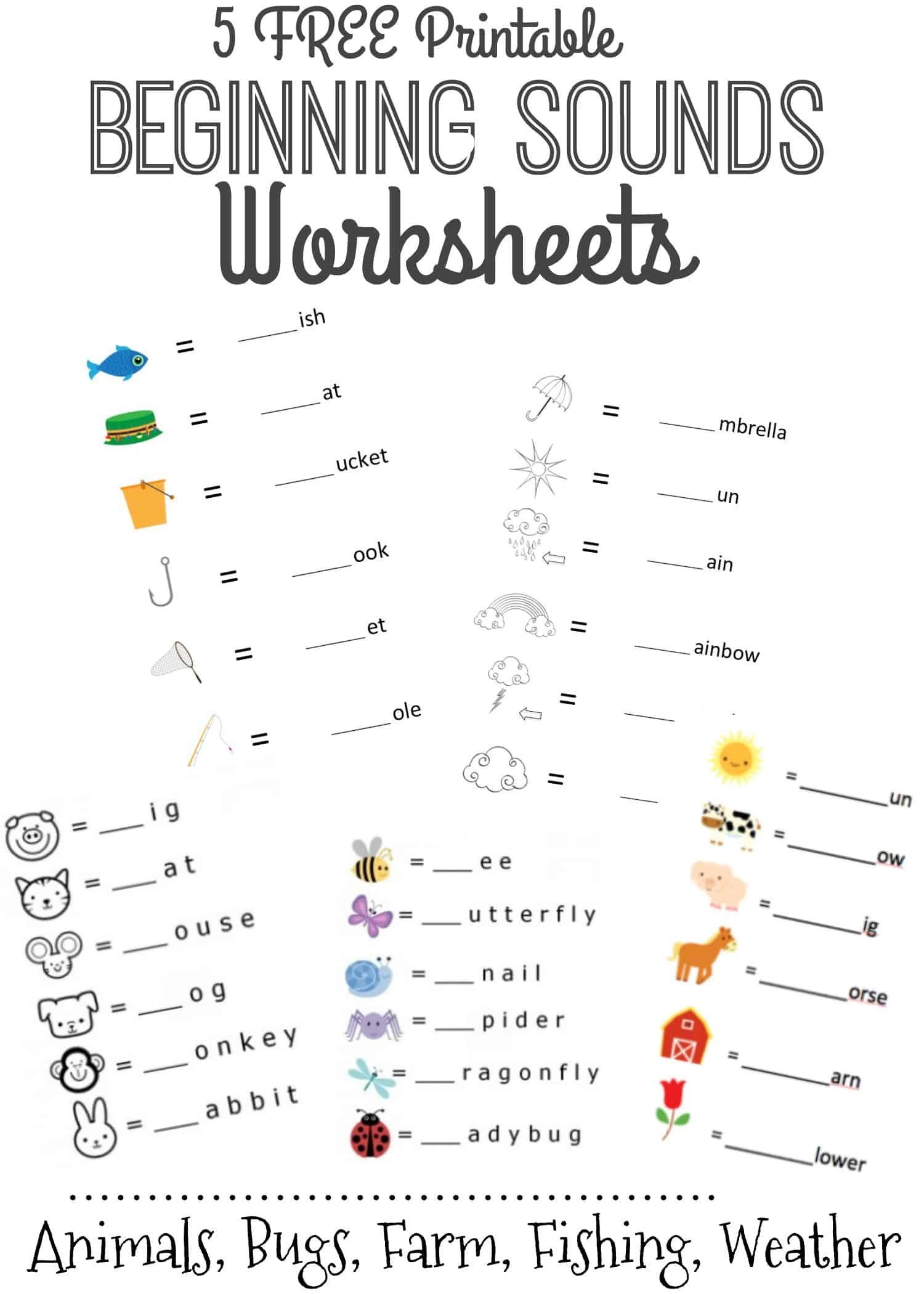 Beginning Sounds Letter Worksheets For Early Learners In Initial Sounds Worksheets