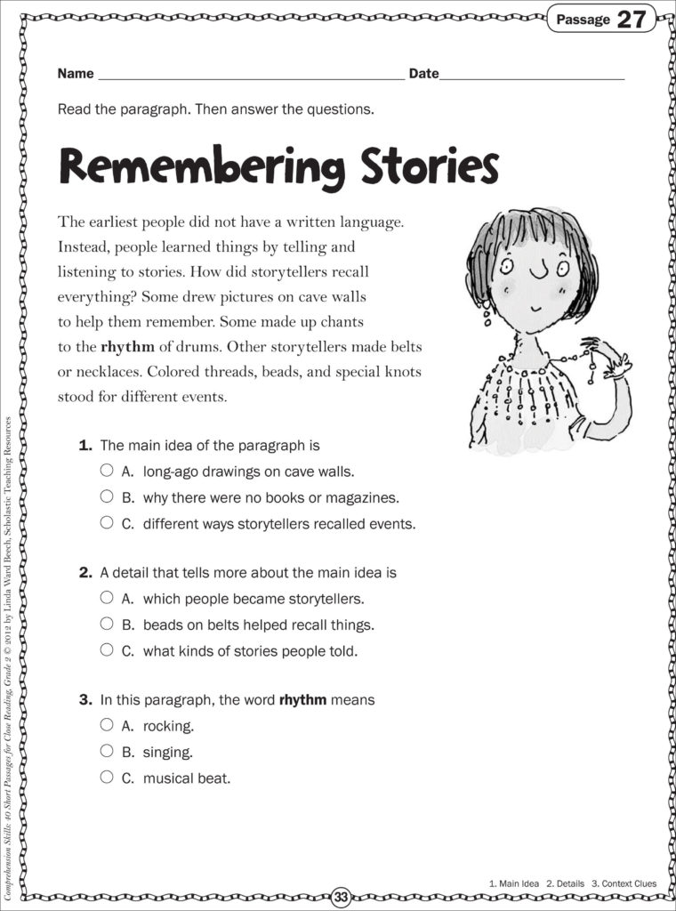 Main Idea First Grade Worksheets — excelguider.com