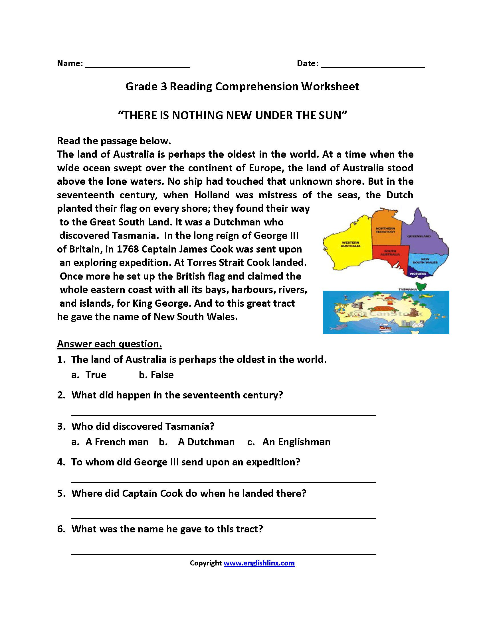 Comprehension Worksheets For Grade 4 — excelguider.com