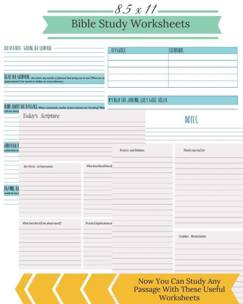 Bible Study Printable Bible Worksheets Inductive Bible  Etsy Or Inductive Bible Study Worksheet