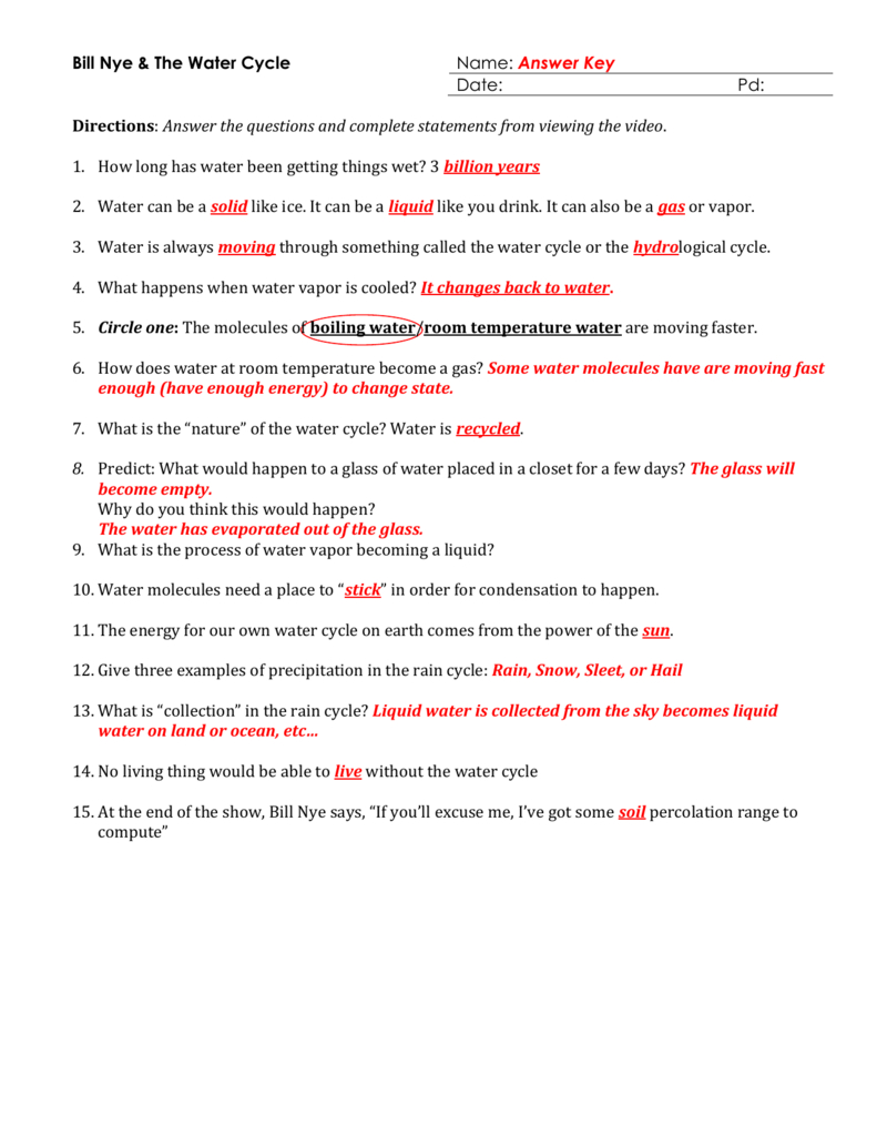 Bill Nye And The Water Cycle Handout For The Water Cycle Worksheet Answer Key