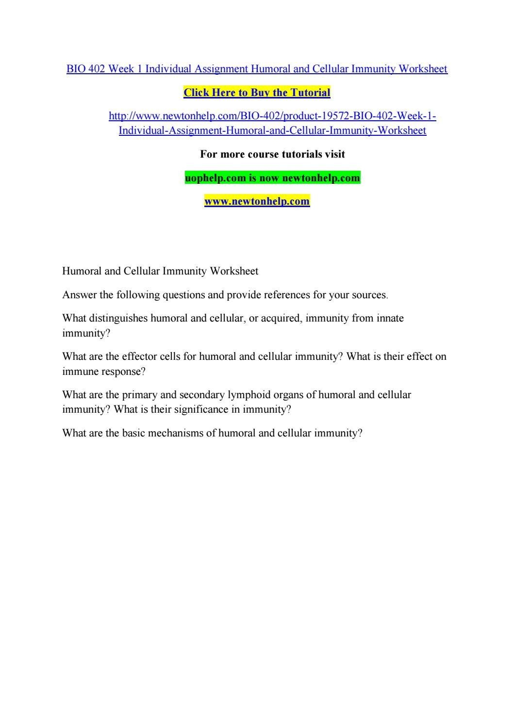 Bio 402 Week 1 Individual Assignment Humoral And Cellular Immunity Inside Primary And Secondary Immune Response Worksheet Answers