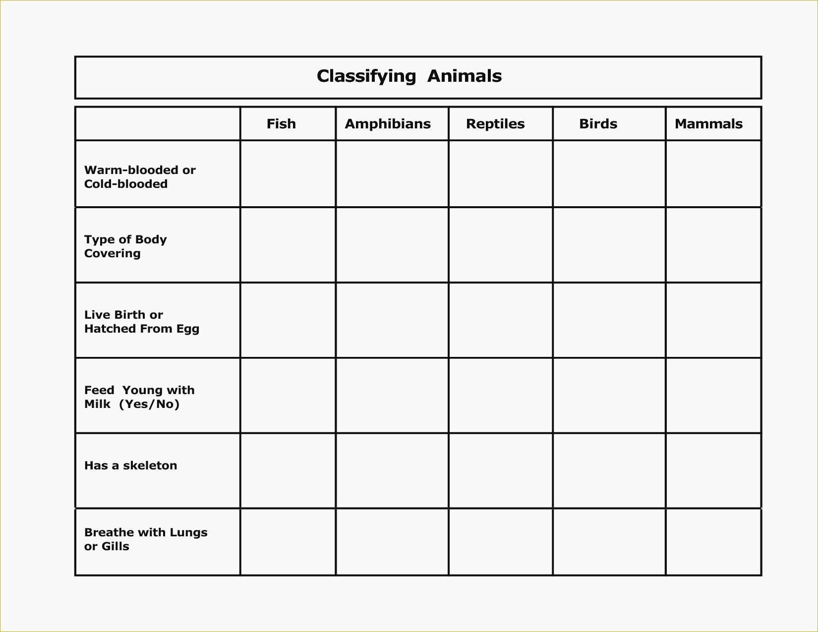 Biological Classification Worksheet  Worksheet Idea Template Along With Animal Classification Worksheet