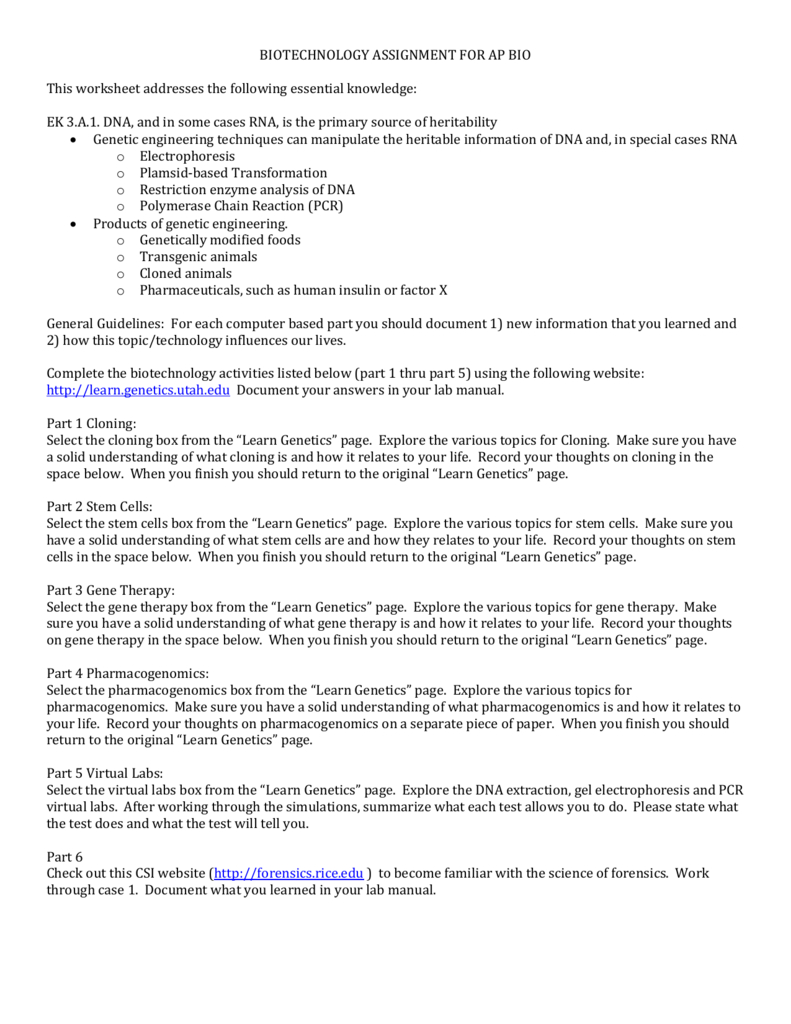 Biotechnology Assignment For Ap Bio This Worksheet Inside Introduction To Biotechnology Worksheet Answers