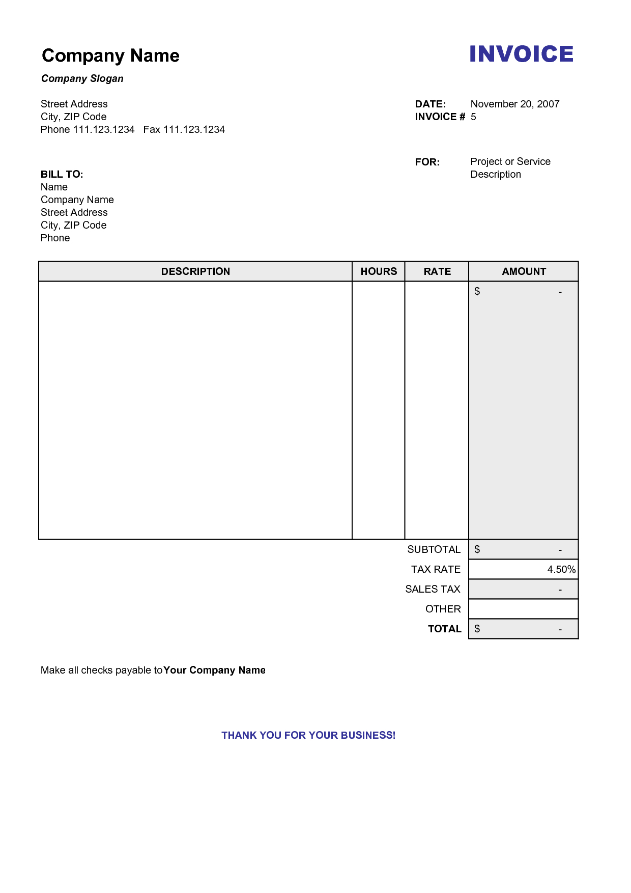 Blank Billing Invoice | Scope Of Work Template | Organization ... Together With Billing Invoice Sample