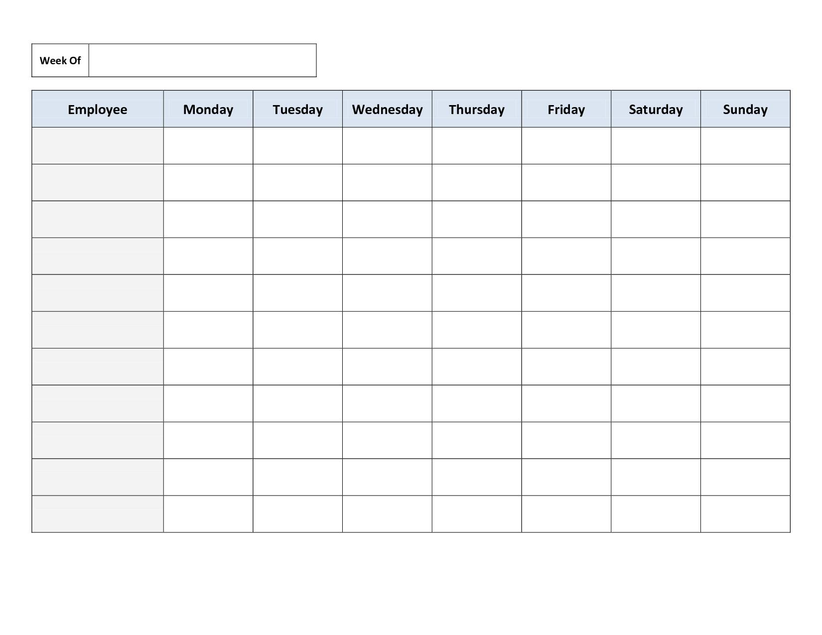 Blank Weekly Work Schedule Template | Schedule | Cleaning Schedule ... Also Employee Work Schedule Spreadsheet