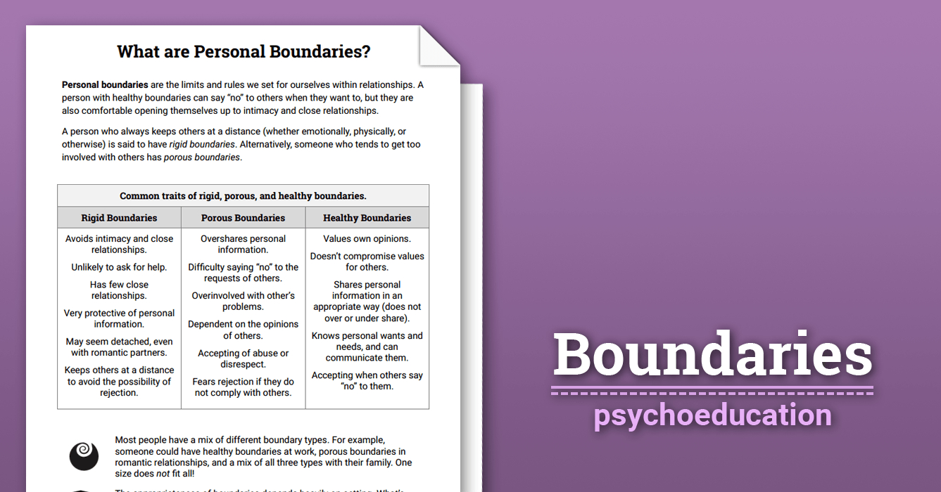 Boundaries Info Sheet Worksheet  Therapist Aid Regarding Healthy Boundaries Worksheet