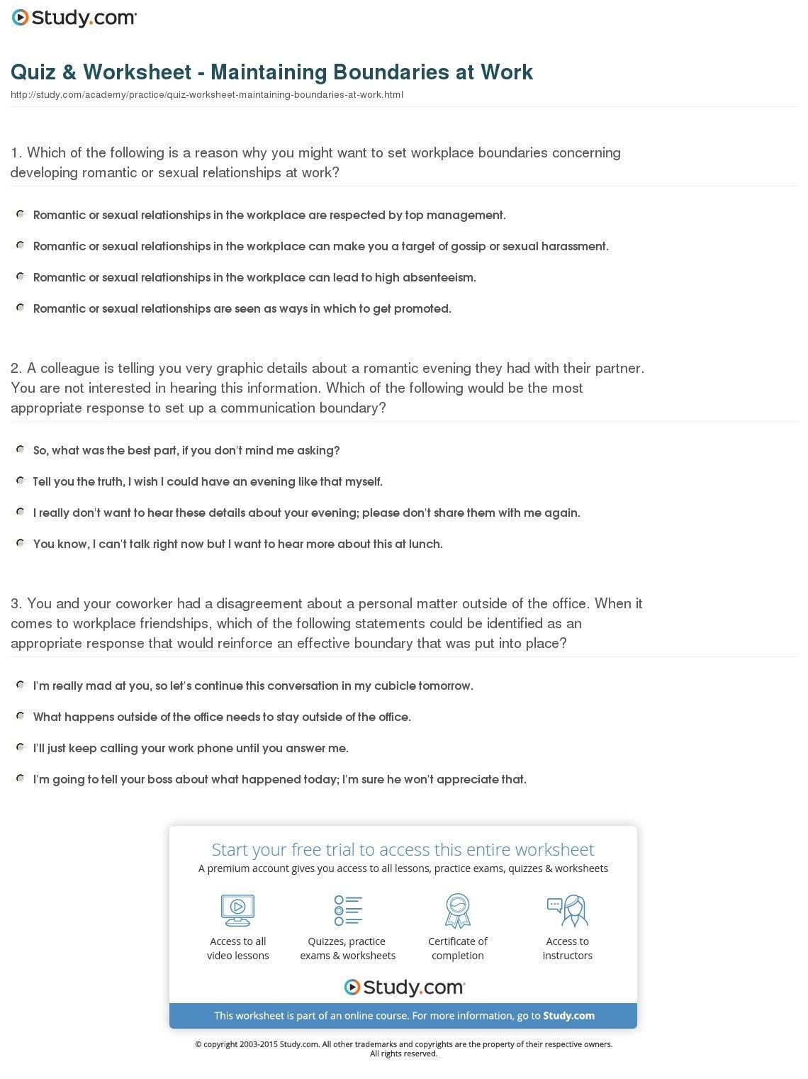 Boundaries Worksheet Cute Area Worksheets  Yooob Intended For Setting Boundaries In Recovery Worksheets