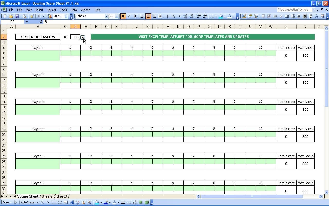 Bowling Score Sheet » Exceltemplate.net Or Bowling Spreadsheet