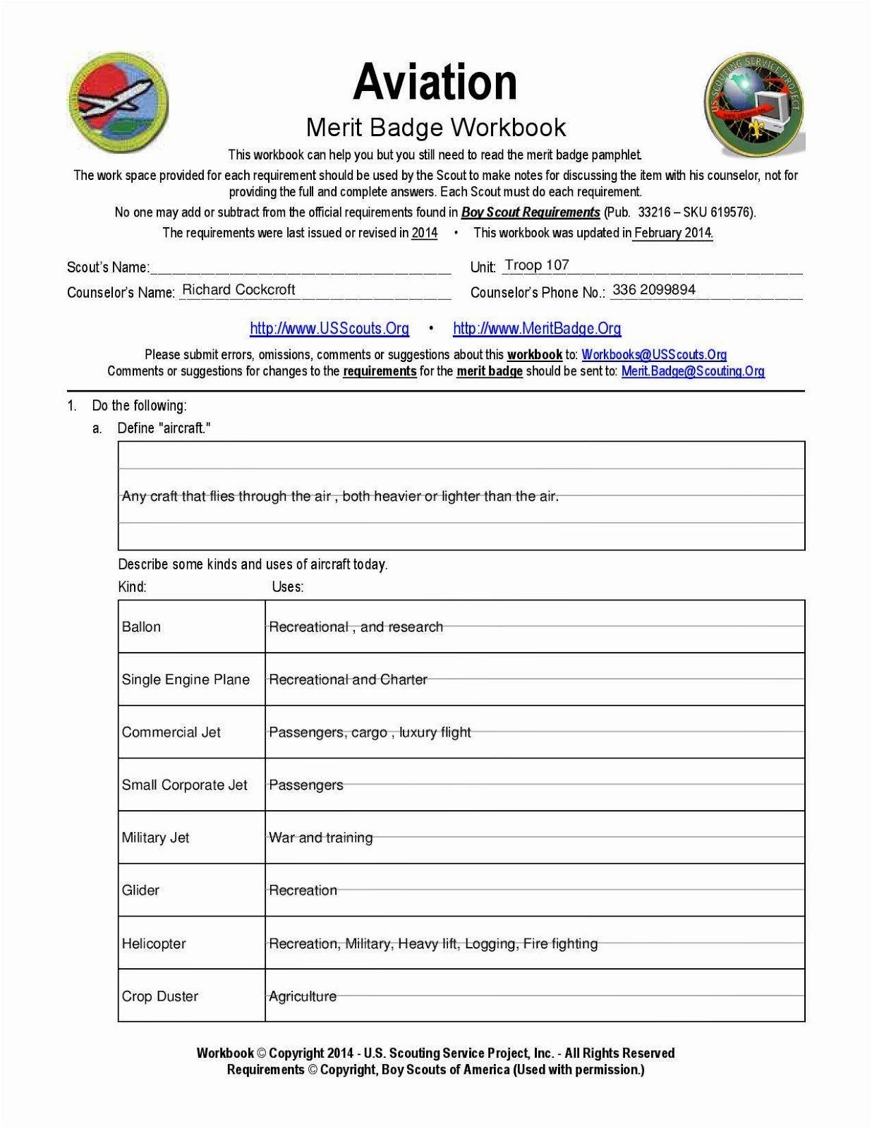 Boy Scout Cooking Merit Badge Worksheet  Yooob Or Boy Scout Worksheets