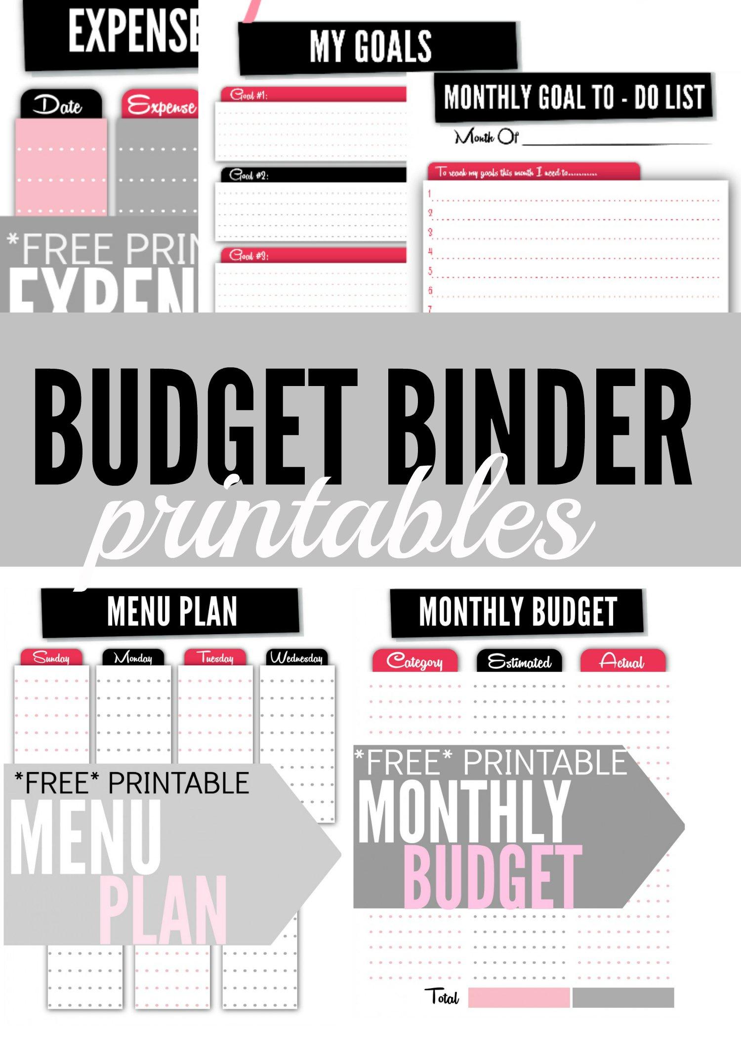 Budget Binder Printables  Single Moms Income Or Free Printable Budget Binder Worksheets