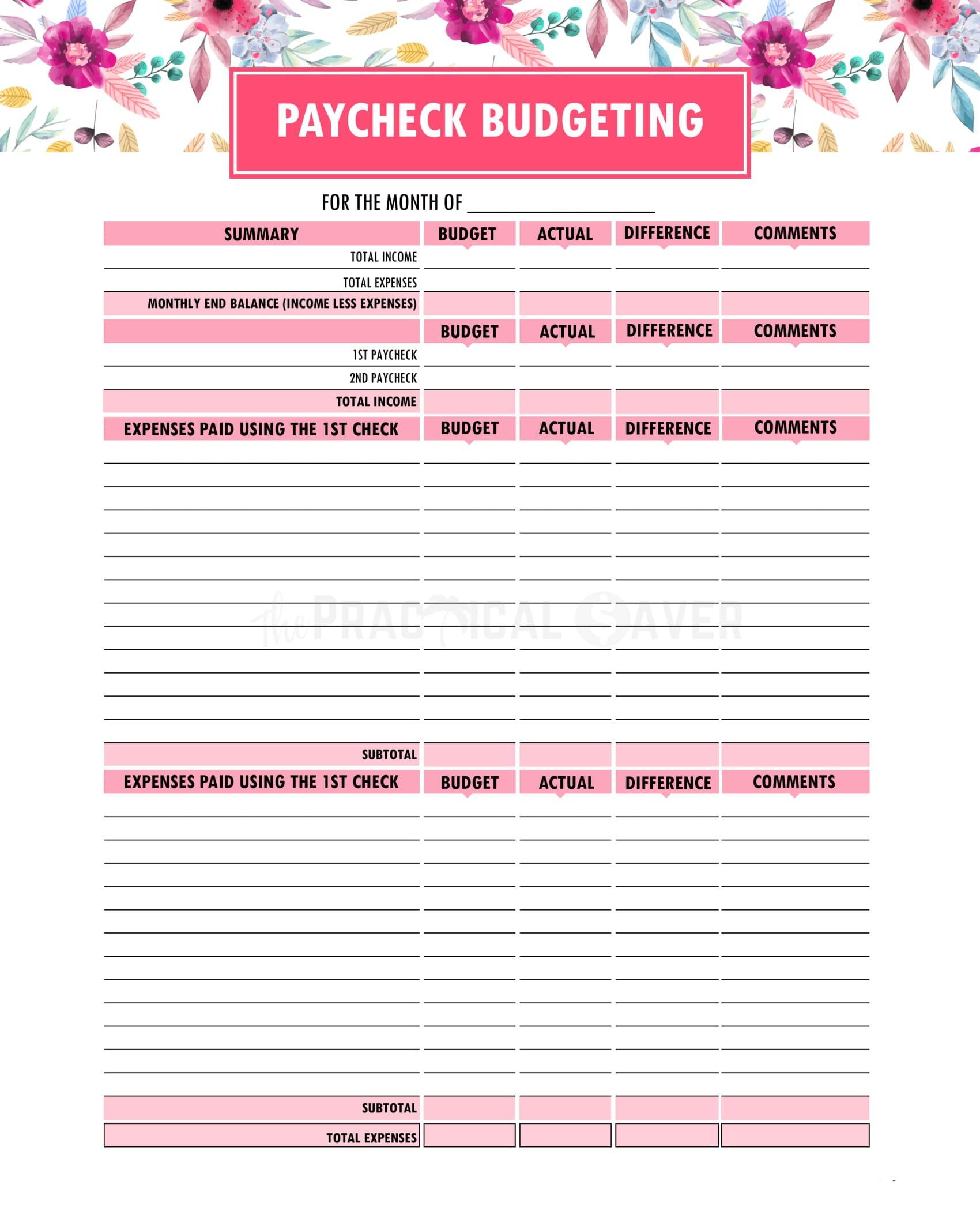 Budget Binder Printables  The Practical Saver Or Free Printable Budget Binder Worksheets