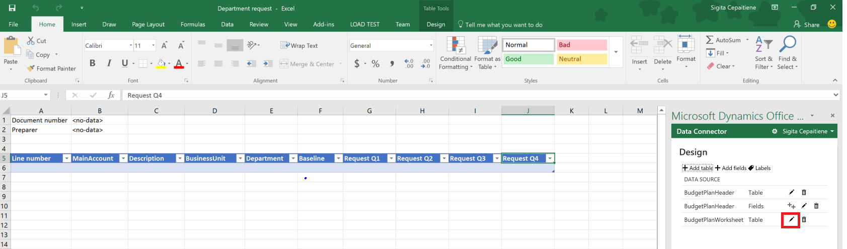 Budget Planning Templates For Excel   Finance & Operations ... Inside Data Spreadsheet Template 5