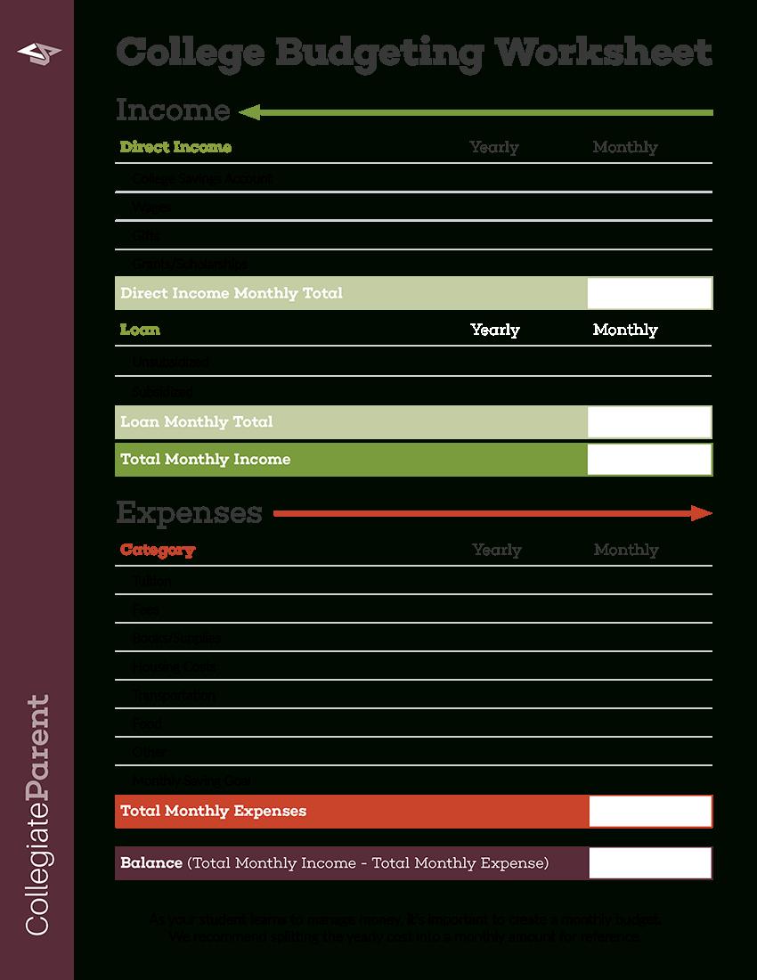 Budget Worksheet  Collegiateparent As Well As Student Budget Worksheet