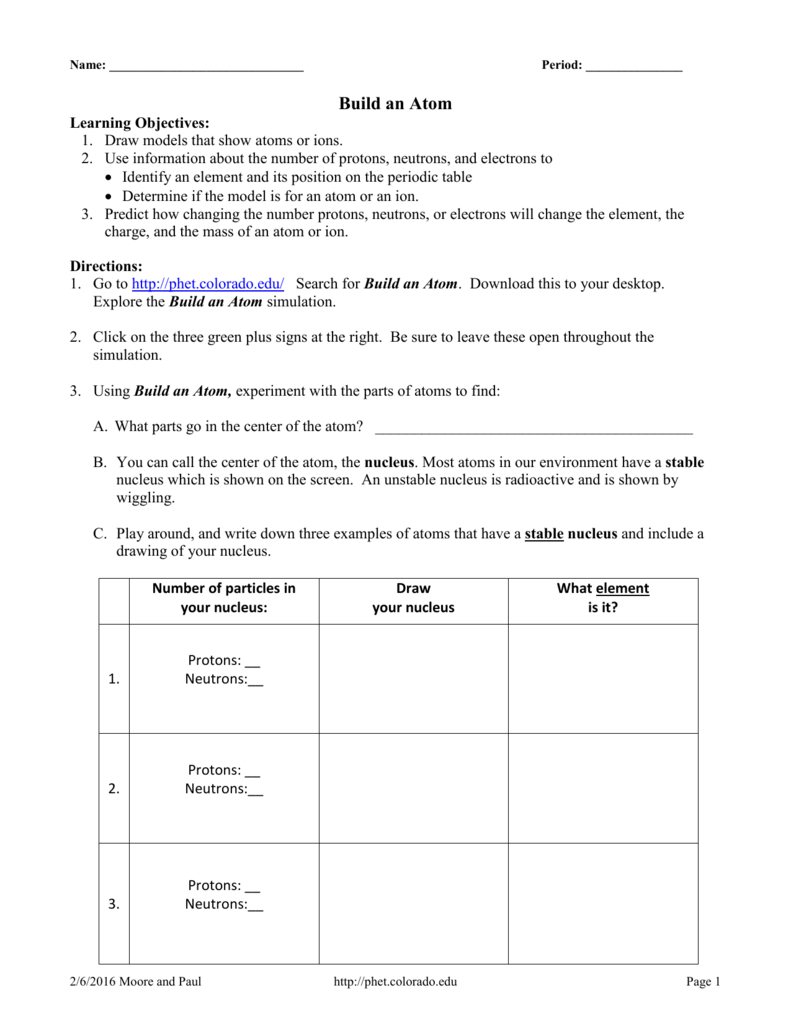 Build An Atom Phet Studentdirectionsbuildatom1 Also Build An Atom Simulation Worksheet Answers