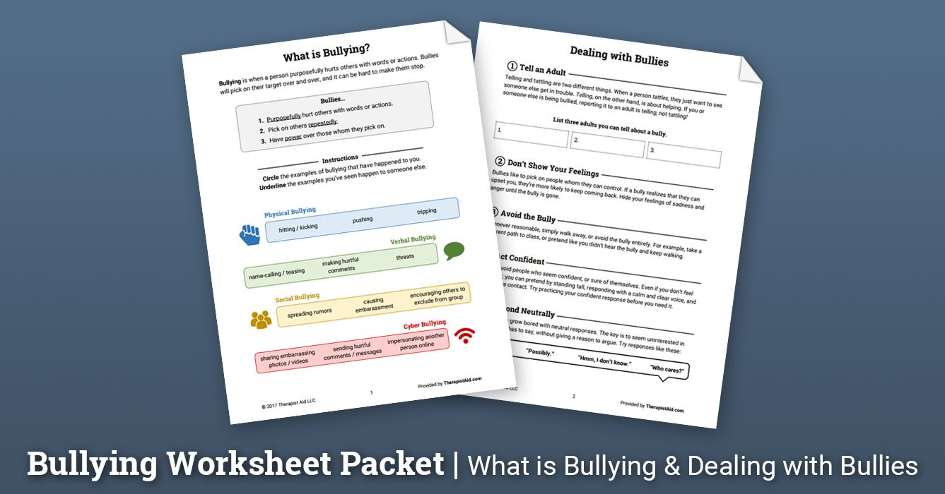 Bullying Worksheet Packet Worksheet  Therapist Aid And Bullying Worksheets For Elementary Students