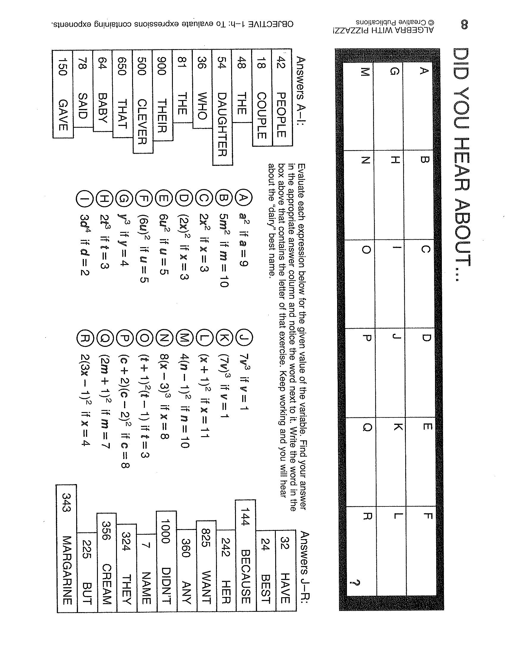 Bunch Ideas Of Algebra With Pizzazz Worksheet Answers Beautiful Math Throughout Algebra With Pizzazz Worksheet Answers