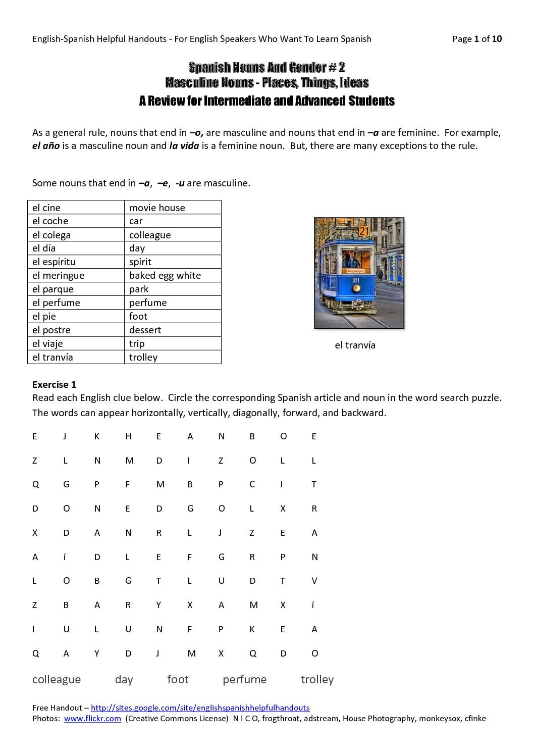 Calaméo  Spanish Nouns And Gender 2  Masculine Nouns With Regard To Gender Of Nouns In Spanish Worksheet