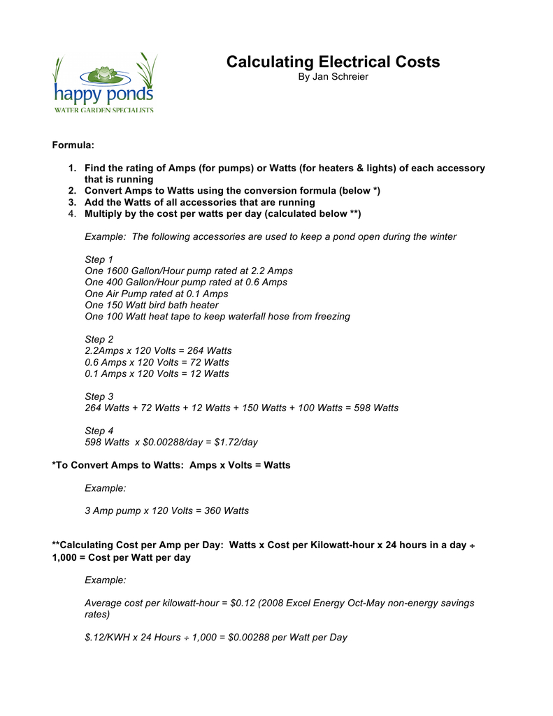 Calculating Electrical Costs As Well As Calculating Electrical Energy And Cost Worksheet Answers