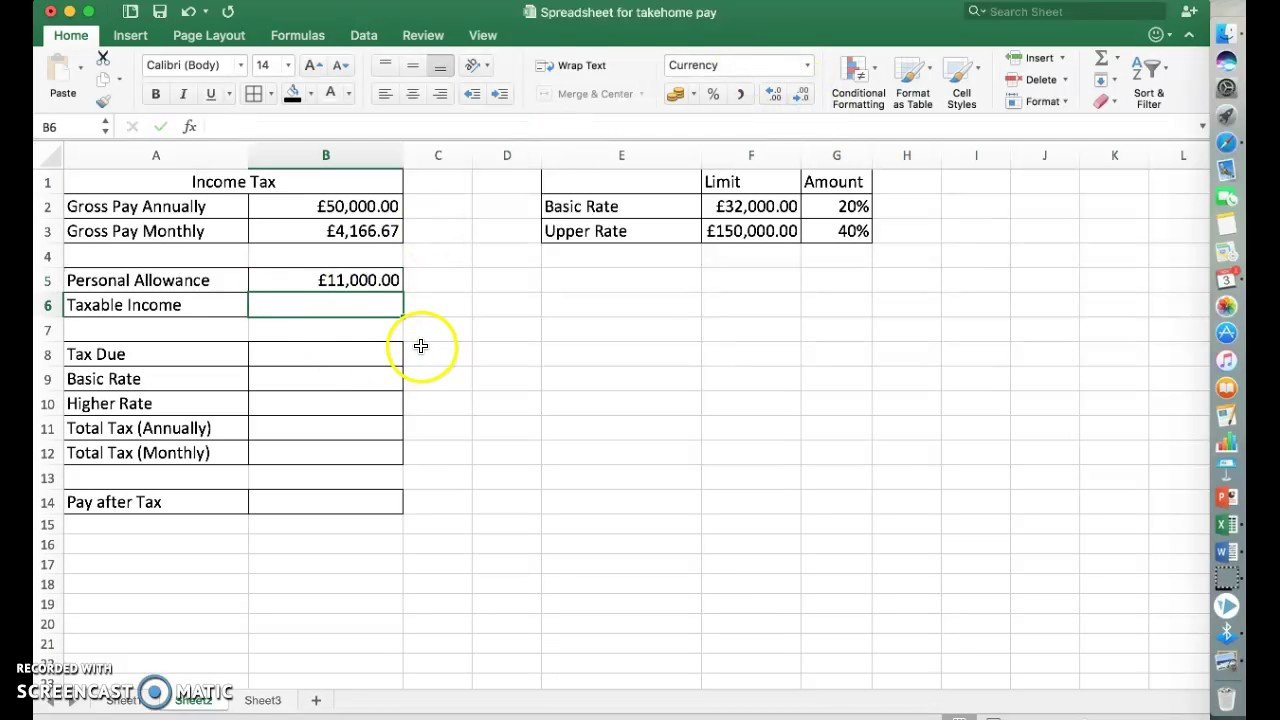 Calculating Income Tax Using Excel   Easy Method   Youtube And Income Tax Excel Spreadsheet