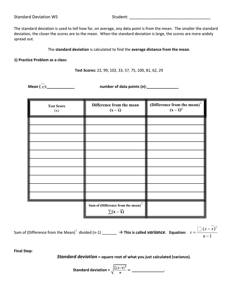 Calculating Standard Deviation Worksheet And Standard Deviation Worksheet Answers