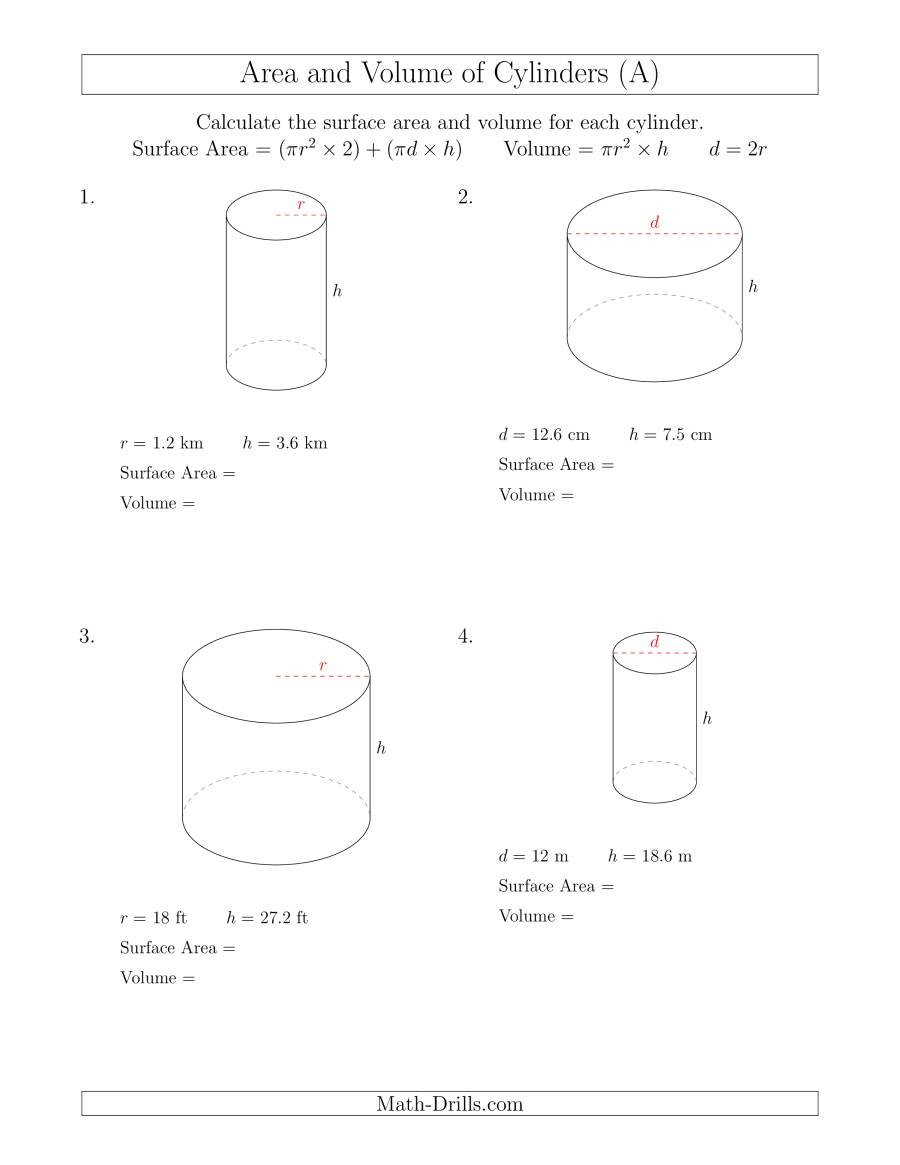 Calculating Surface Area And Volume Of Cylinders A Intended For Volume Of A Cylinder Worksheet Pdf