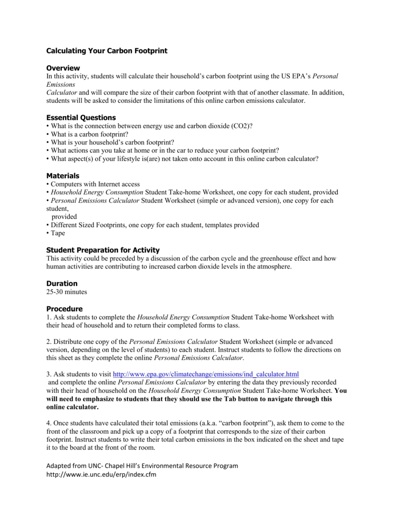 Calculating Your Carbon Footprint Activity Inside Carbon Footprint Worksheet Answers