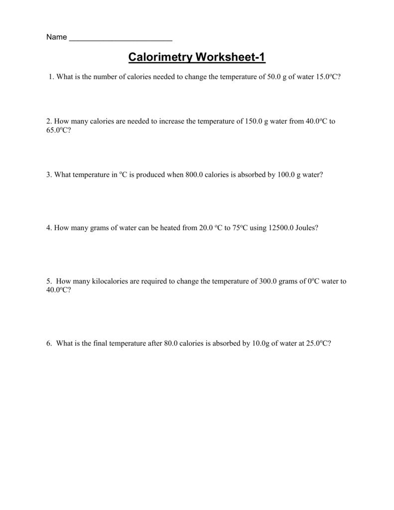 Calorimetry Worksheet Together With Calorimetry Worksheet Answers