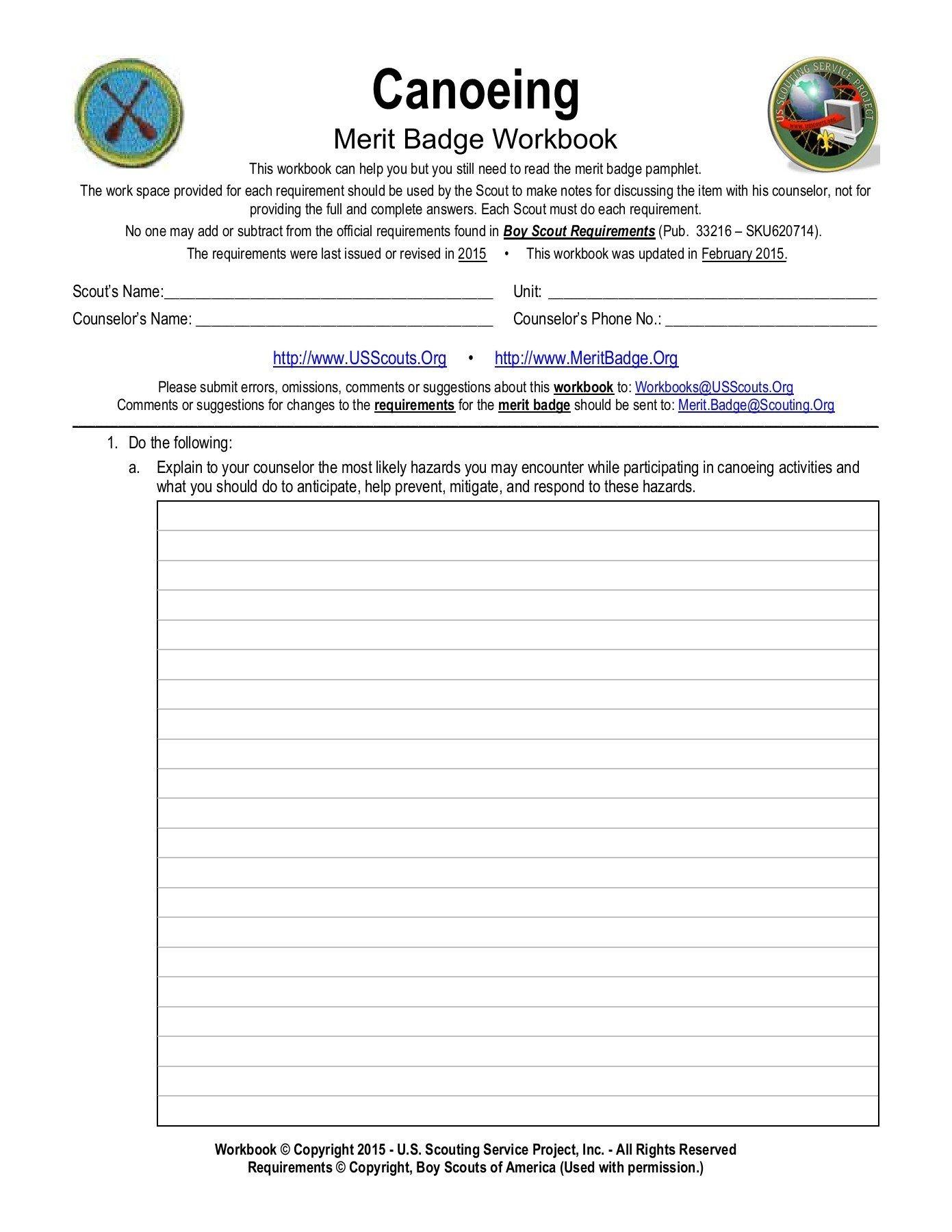 Canoeing Merit Badge Worksheet  Us Scouting Service  Pages 1 Regarding Boy Scout Merit Badge Worksheets