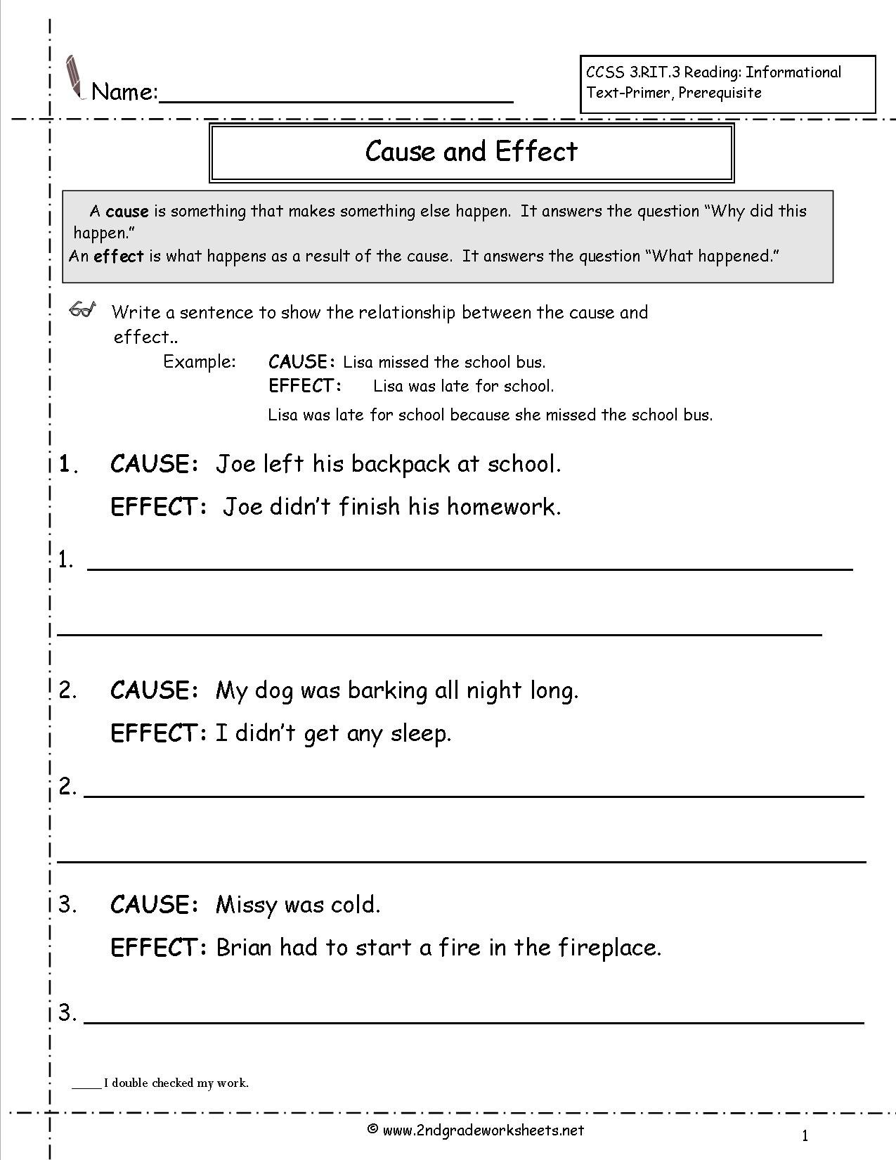 Cause And Effect Worksheets For Cause And Effect Worksheets 3Rd Grade