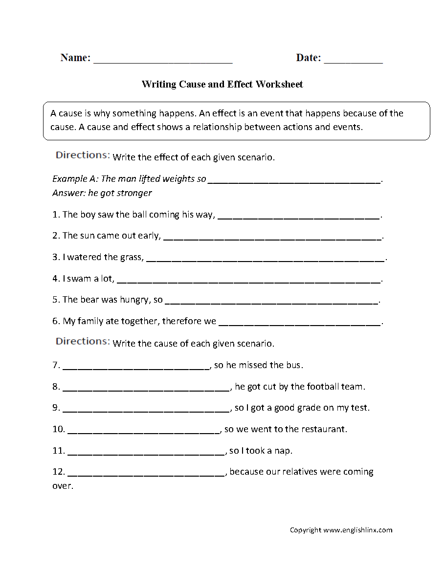 Cause And Effect Worksheets  Writing The Cause And Effect Worksheet Inside Cause And Effect Worksheets 3Rd Grade