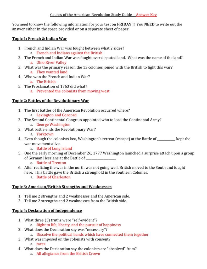 Causes Of The American Revolution Study Guide – Answer Key You For Life In The Colonies Worksheet Answers