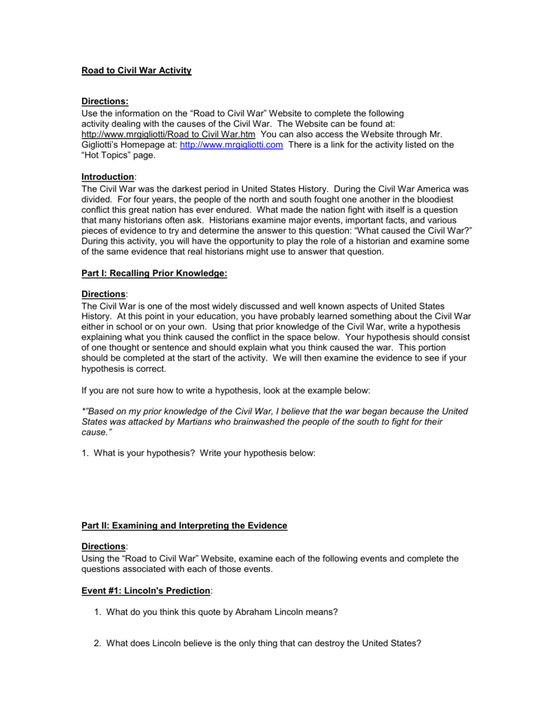 Causes Of The Civil War Worksheet With The Road To The Civil War Worksheet Answers