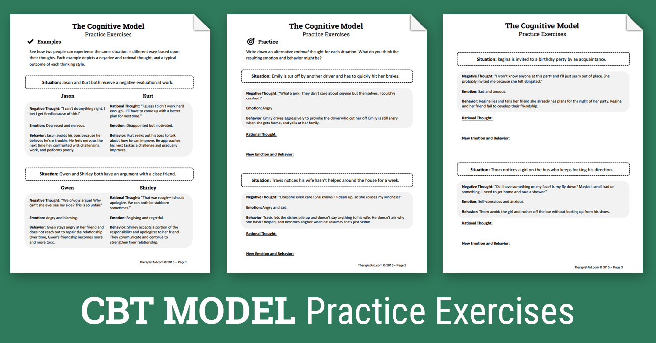 Cbt Practice Exercises Worksheet  Therapist Aid Together With Therapy Aide Worksheets