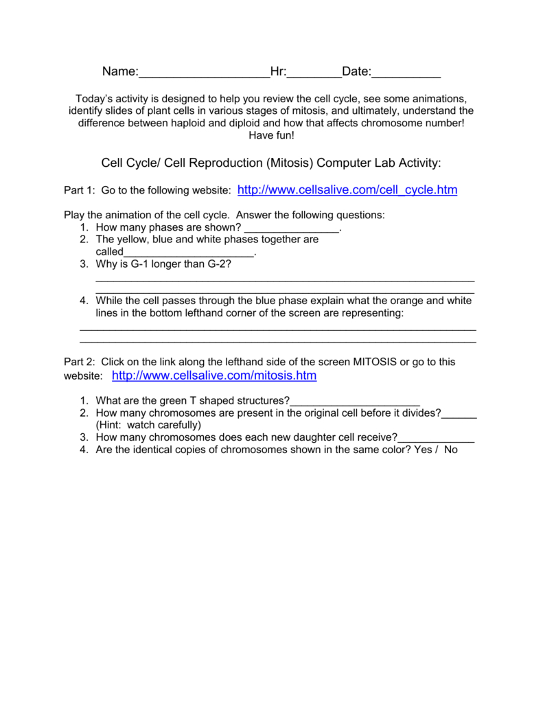 Cell Cycle Cell Reproduction Mitosis Computer Lab Along With Cells Alive Cell Cycle Worksheet Answers