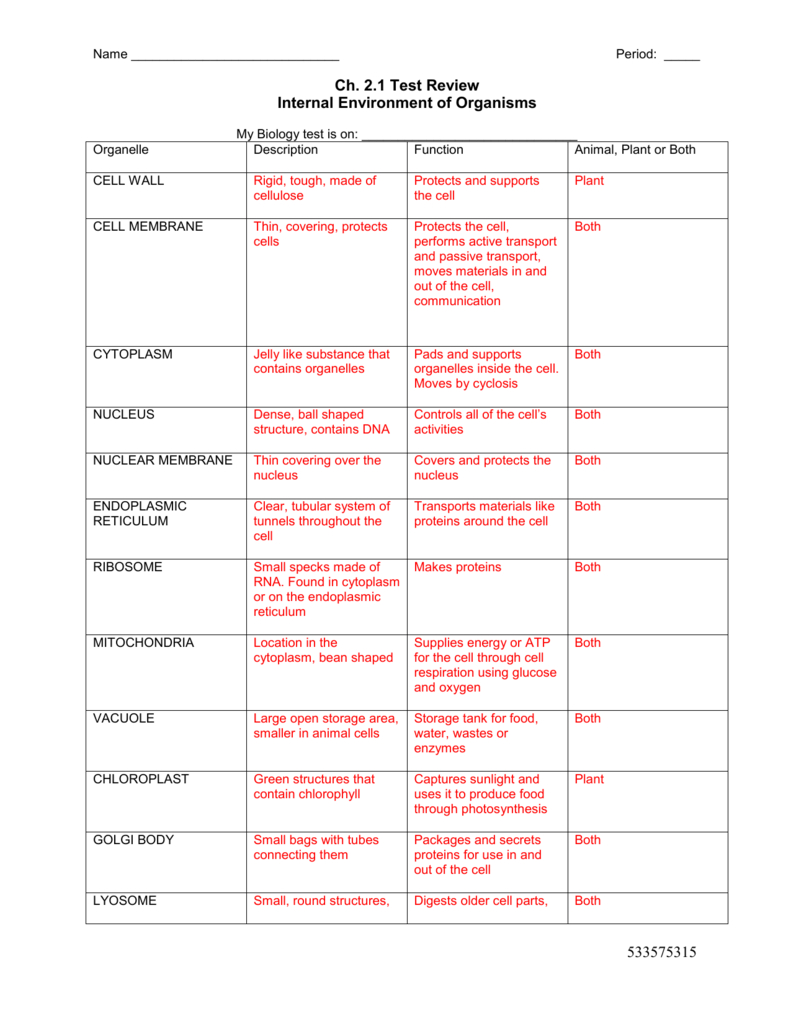 Cell Organelles Worksheet And Cell Organelles Worksheet Answer Key Biology