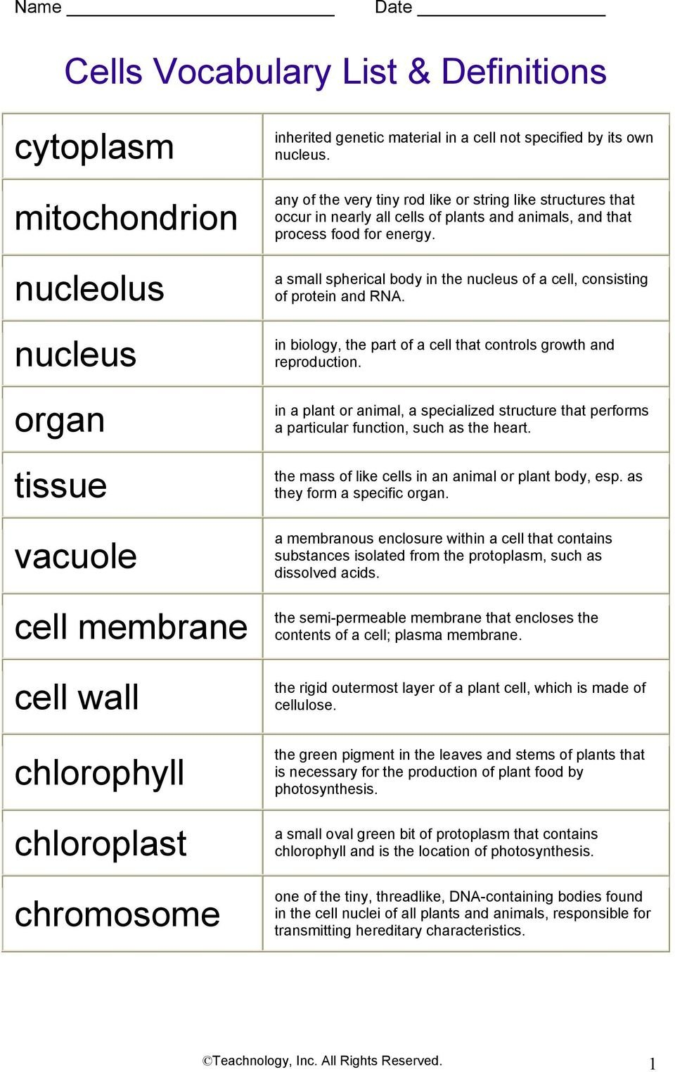 Cells Vocabulary List  Definitions  Pdf Throughout Cells Vocabulary Quiz Worksheet Answers