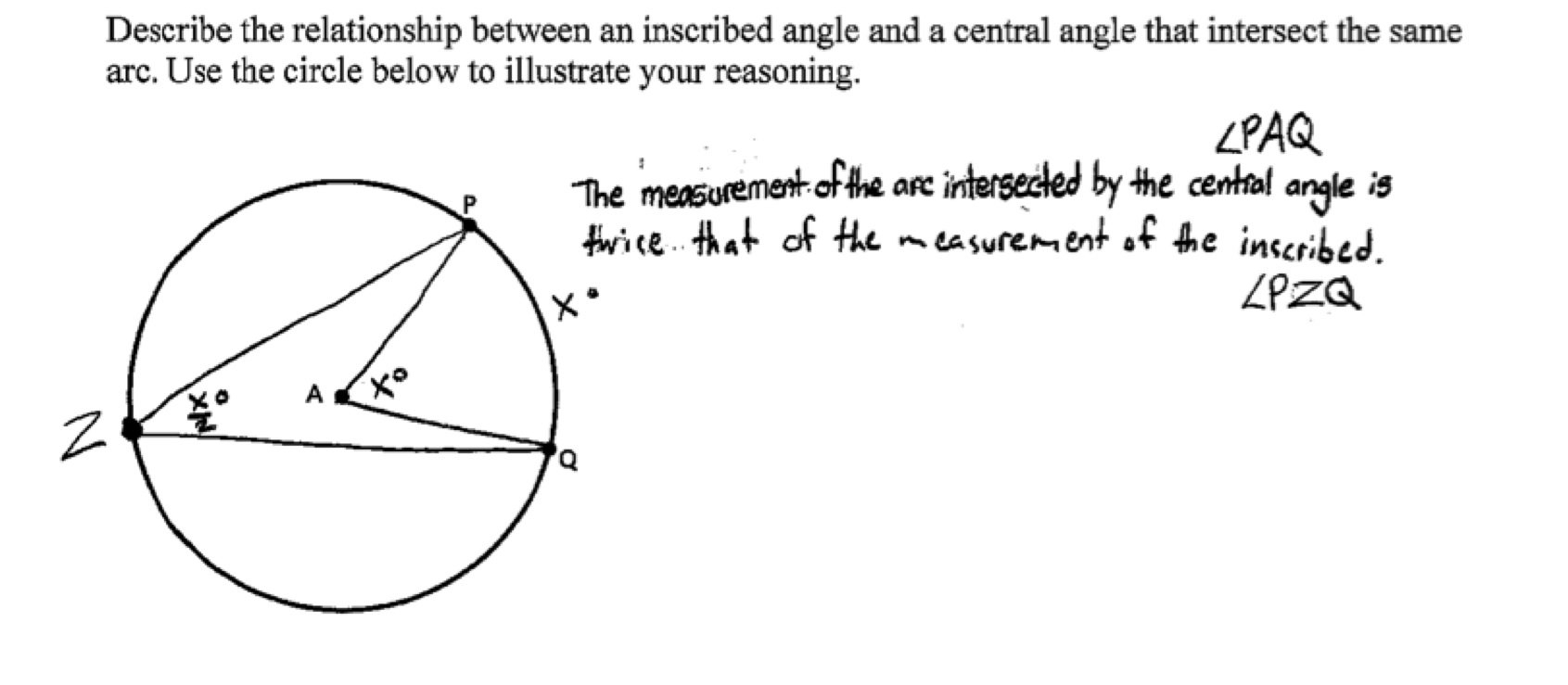 Central And Inscribed Angles Students Are Asked To Describe The Inside Inscribed Angles Worksheet