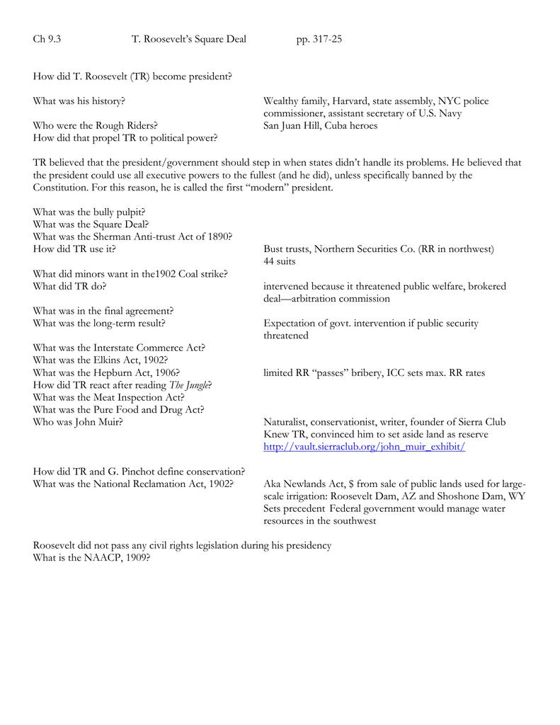 Ch 93 T Roosevelt's Square Deal Pp 317 For Teddy Roosevelt Square Deal Worksheet